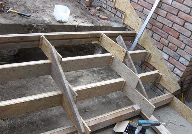 как сделать опалубку для лестницы из бетона