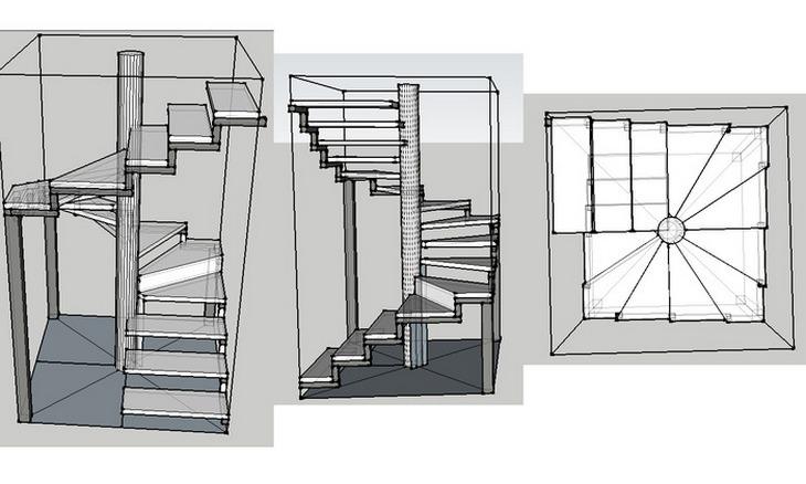 Чертёж винтовой лестницы своими руками фото 604