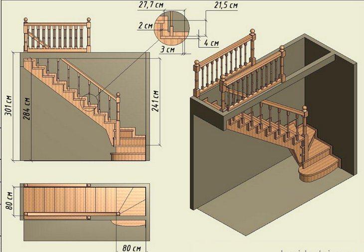Как сделать лестницу 90 градусов на второй этаж своими руками