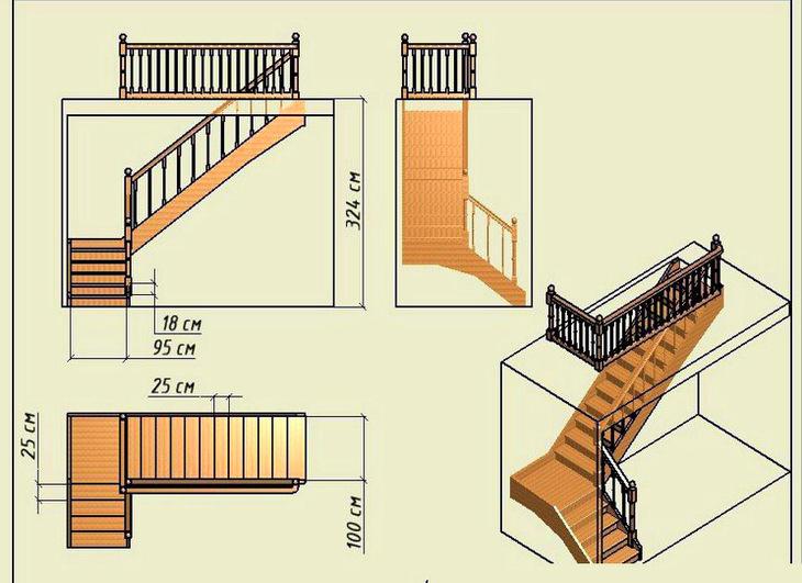 Сделать г-образную лестницу