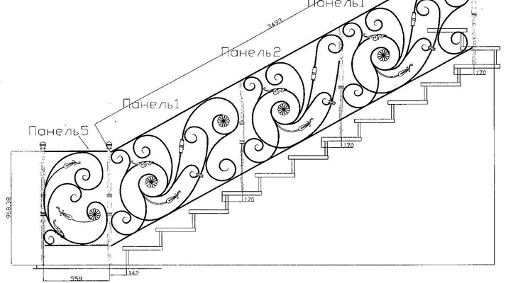 Расчет ограждений лестницы