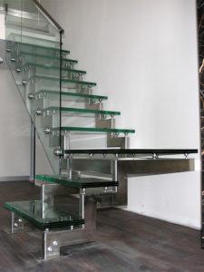 Виды элементов лестниц из нержавеющей стали под стекло
