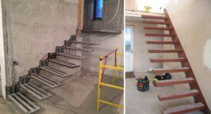 Как выполняют монтаж консольной лестницы на металлическом каркасе?