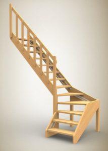 Лестница на тетивах с поворотом на 90