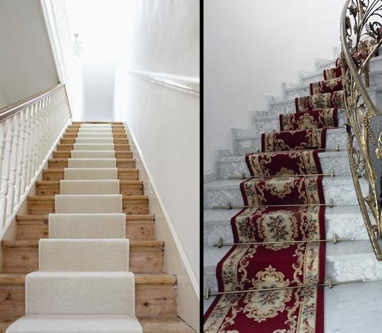 Крепление цельного ковра к лестнице